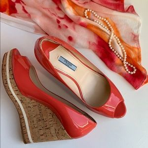 Prada Coral Patent Peep Toe Cork Wedges Euro 39.5